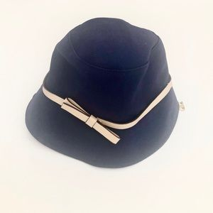 Kate Spade PU Coated Leather Bow Cotton Bucket Hat